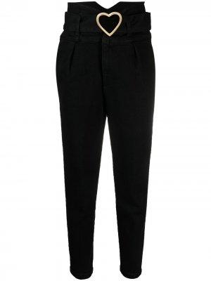Зауженные джинсы с завышенной талией и поясом LIU JO. Цвет: черный