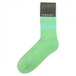 Хлопковые носки Versace. Цвет: зелёный