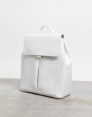 Белый рюкзак с клапаном и двумя карманами Claudia Canova