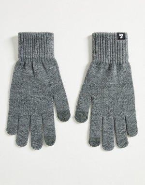 Серые трикотажные перчатки для сенсорных устройств -Серый Jack & Jones