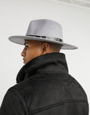 Серая шляпа-федора с отделкой на ленте в виде цепочки SVNX-Серый 7X