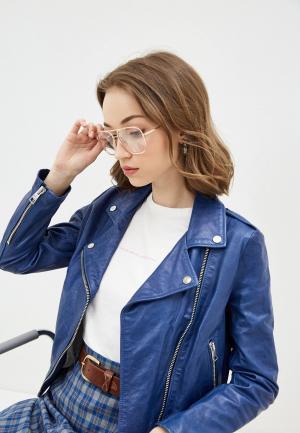 Куртка кожаная Imperial. Цвет: синий