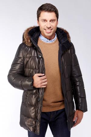 Кожаный мужской удлиненный пуховик AFG. Цвет: черный