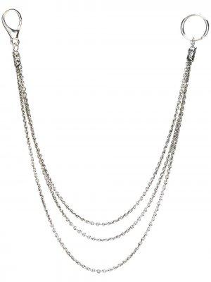 Тройная цепь для кошелька Emanuele Bicocchi. Цвет: серебристый