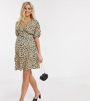 Чайное платье мини с леопардовым принтом ASOS DESIGN Maternity-Мульти Maternity