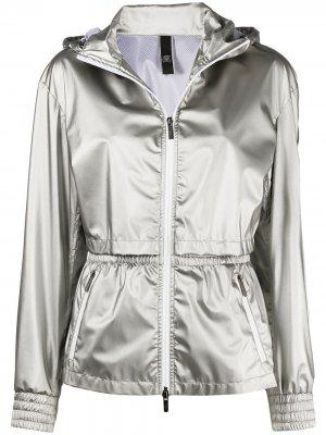Куртка с капюшоном и эффектом металлик Hogan. Цвет: серебристый