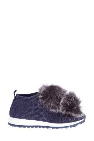 Кроссовки Norway из эластичного текстиля с помпонами эко-меха JIMMY CHOO. Цвет: синий