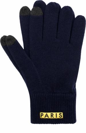 Шерстяные перчатки с аппликацией Kenzo. Цвет: синий
