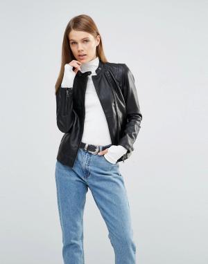 Кожаная куртка Melanie Selected. Цвет: черный