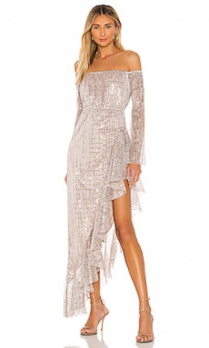 Макси платье shiva Michael Costello. Цвет: blush,metallic silver