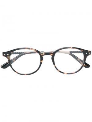 Очки в круглой оправе Bottega Veneta Eyewear. Цвет: разноцветный
