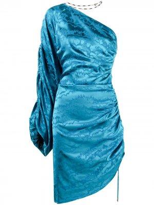 Платье асимметричного кроя на одно плечо The Attico. Цвет: синий