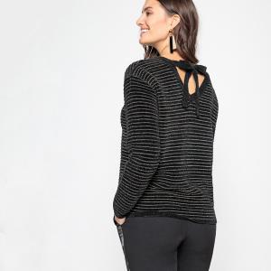 Пуловер в полоску из плотного трикотажа с бантиком сзади ANNE WEYBURN. Цвет: черный
