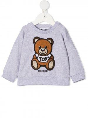 Джемпер с вышивкой Teddy Bear Moschino Kids. Цвет: серый