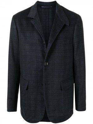 Кашемировый пиджак в клетку Stefano Ricci. Цвет: синий
