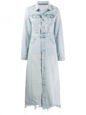 Длинное джинсовое пальто Alexander Wang. Цвет: синий