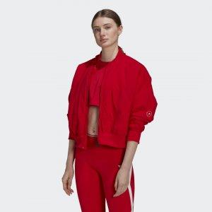 Куртка-бомбер для фитнеса by Stella McCartney adidas. Цвет: красный