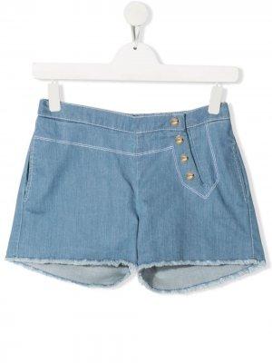 Джинсовые шорты Chloé Kids. Цвет: синий