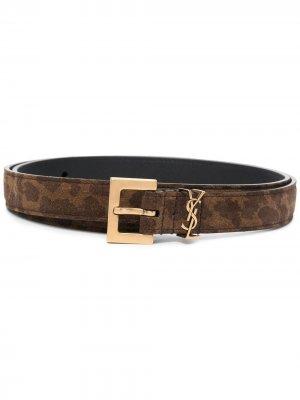 Animal-print belt Saint Laurent. Цвет: коричневый