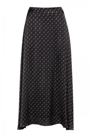 Расклешенная юбка-миди из вискозы VASSA&Co. Цвет: черный