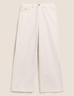 Укороченные джинсы с высокой талией и широкими штанинами M&S Collection. Цвет: экрю