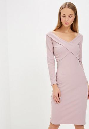 Платье LOST INK WRAP FRONT BARDOT BODYCON MIDI DRESS. Цвет: розовый