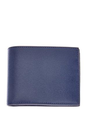Лаконичное портмоне из прочной сафьяновой кожи CANALI. Цвет: синий