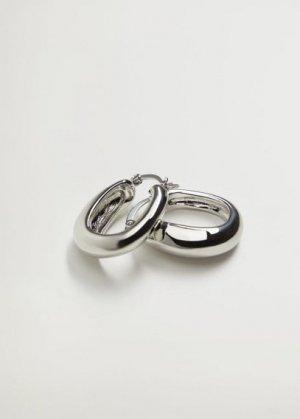 Перекрученные серьги-кольца - Valeria Mango. Цвет: серебро