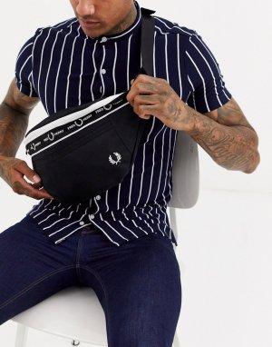 Черная большая сумка-кошелек на пояс -Черный Fred Perry