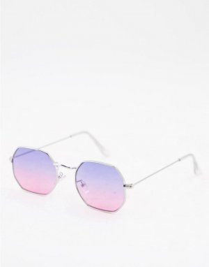 Солнцезащитные очки в серебристой металлической оправе угловатой формы с сиреневыми градиентными линзами стиле 90-х -Серебристый ASOS DESIGN