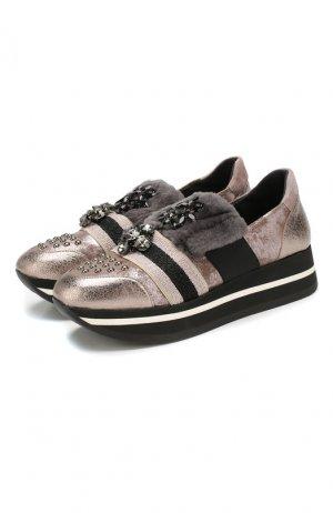 Кожаные кроссовки Baldan. Цвет: бежевый