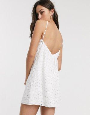 Белое летнее платье мини с вышивкой ришелье -Белый ASOS DESIGN