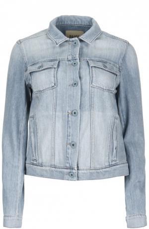 Укороченная джинсовая куртка с накладными карманами Paige. Цвет: синий