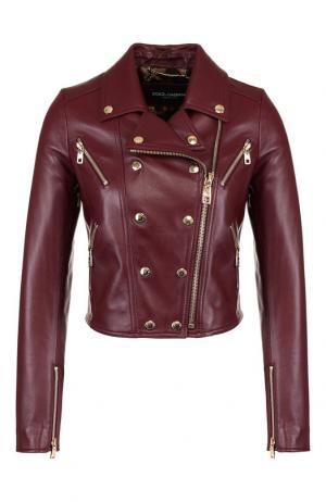 Укороченная кожаная куртка Dolce & Gabbana. Цвет: красный