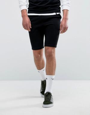 Черные трикотажные шорты зауженного кроя ASOS DESIGN. Цвет: черный