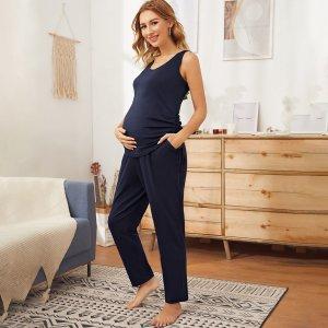 Maternity Брюки и майка с узлом SHEIN. Цвет: тёмно-синие