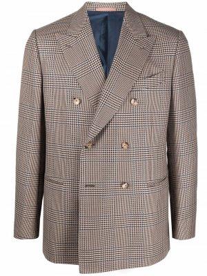 Двубортный пиджак в клетку Caruso. Цвет: нейтральные цвета