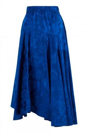 Асимметричная юбка из атласного жаккарда Balenciaga. Цвет: синий