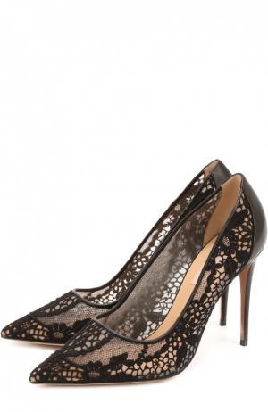 Туфли Garavani Fusion Lace с кружевной отделкой Valentino. Цвет: черный