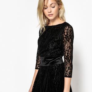 805d8b72494 Платье кружевное с красивой спинкой и поясом из велюра LA REDOUTE  COLLECTIONS. Цвет  черный