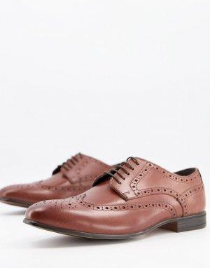 Кожаные коричневые броги Rowen-Коричневый цвет Schuh
