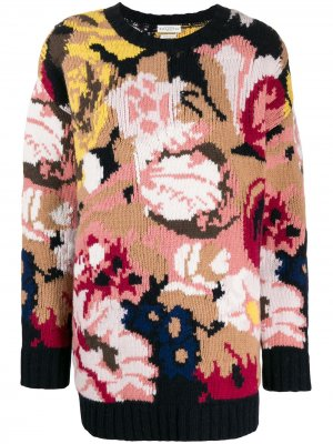 Джемпер оверсайз вязки интарсия с цветочным узором Ballantyne. Цвет: розовый