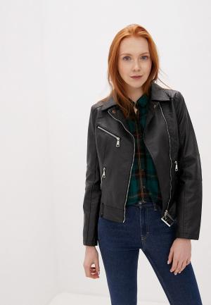 Куртка кожаная Z-Design. Цвет: черный