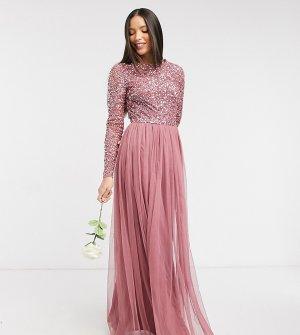 Розовое платье макси с пайетками, длинными рукавами и фатиновой юбкой -Розовый Maya Tall