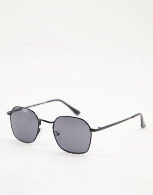 Мужские круглые солнцезащитные очки черного цвета -Черный цвет AJ Morgan