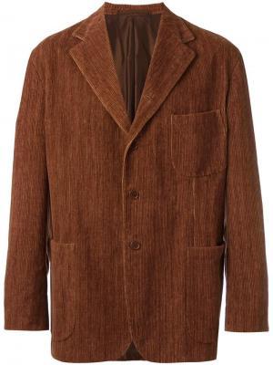 Бархатный пиджак с застежкой на пуговицы Romeo Gigli Vintage. Цвет: коричневый
