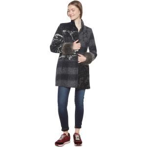Пальто средней длины в стиле пэчворк из полушерстяной ткани DESIGUAL. Цвет: черный/серый