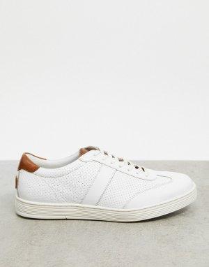 Белые кожаные кроссовки с полосками по бокам -Белый Dune