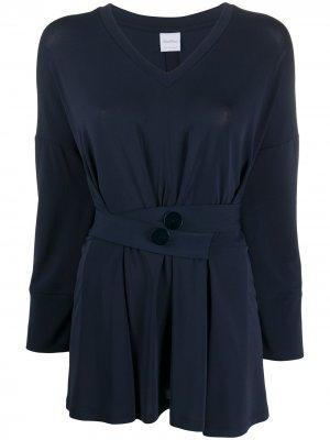 Блузка с V-образным вырезом и поясом Max Mara. Цвет: синий