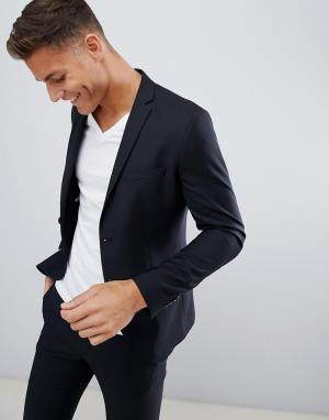 Черный эластичный приталенный пиджак Premium-Черный цвет Jack & Jones